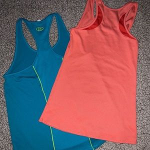 Coral and Blue Under Armour woman's tank tops